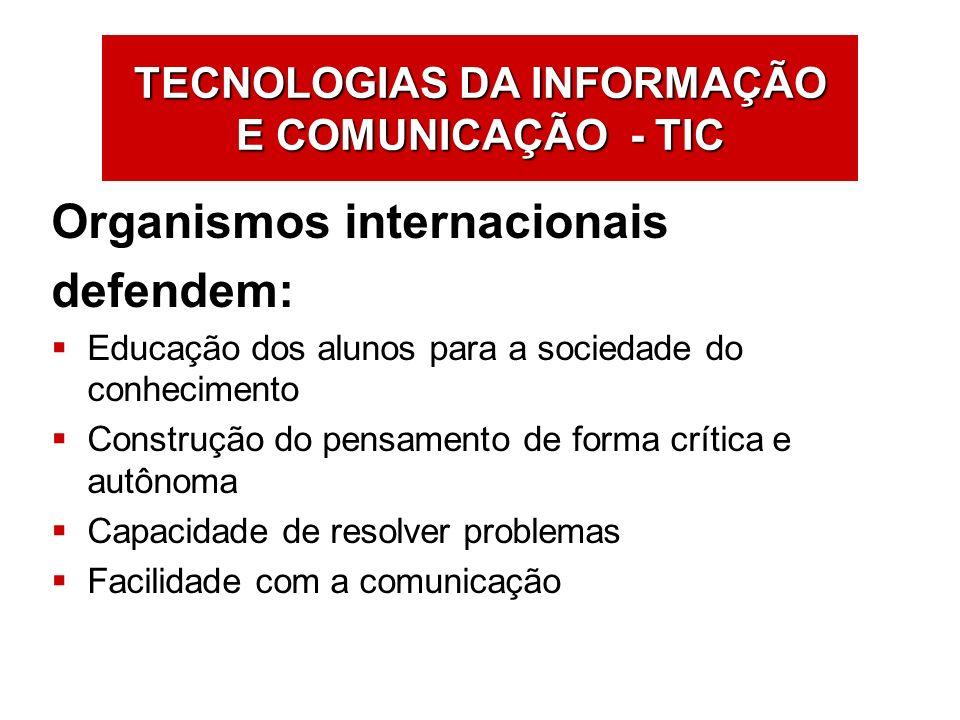 TECNOLOGIAS DA INFORMAÇÃO E COMUNICAÇÃO - TIC Organismos internacionais defendem: Educação dos alunos para a sociedade do conhecimento Construção do p