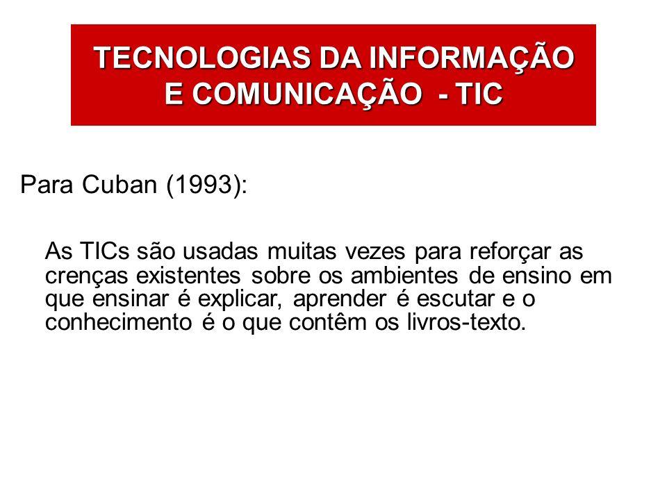 Para Cuban (1993): As TICs são usadas muitas vezes para reforçar as crenças existentes sobre os ambientes de ensino em que ensinar é explicar, aprende