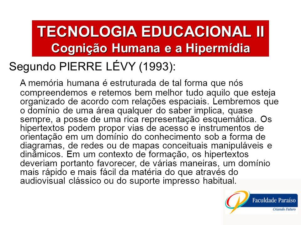 TECNOLOGIA EDUCACIONAL II Cognição Humana e a Hipermídia Segundo PIERRE LÉVY (1993): A memória humana é estruturada de tal forma que nós compreendemos e retemos bem melhor tudo aquilo que esteja organizado de acordo com relações espaciais.