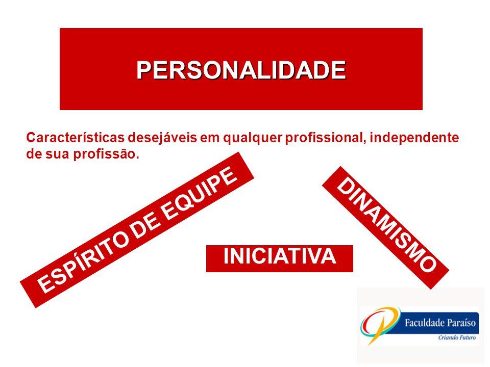 PERSONALIDADE INICIATIVA Características desejáveis em qualquer profissional, independente de sua profissão. ESPÍRITO DE EQUIPE DINAMISMO