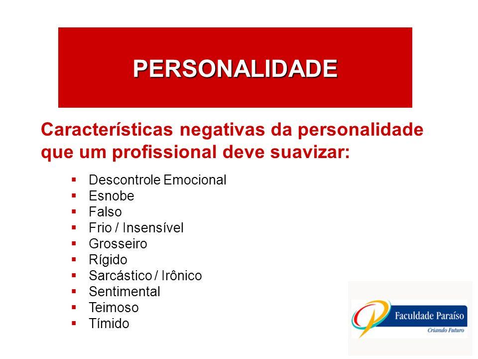 PERSONALIDADE Descontrole Emocional Esnobe Falso Frio / Insensível Grosseiro Rígido Sarcástico / Irônico Sentimental Teimoso Tímido Características ne