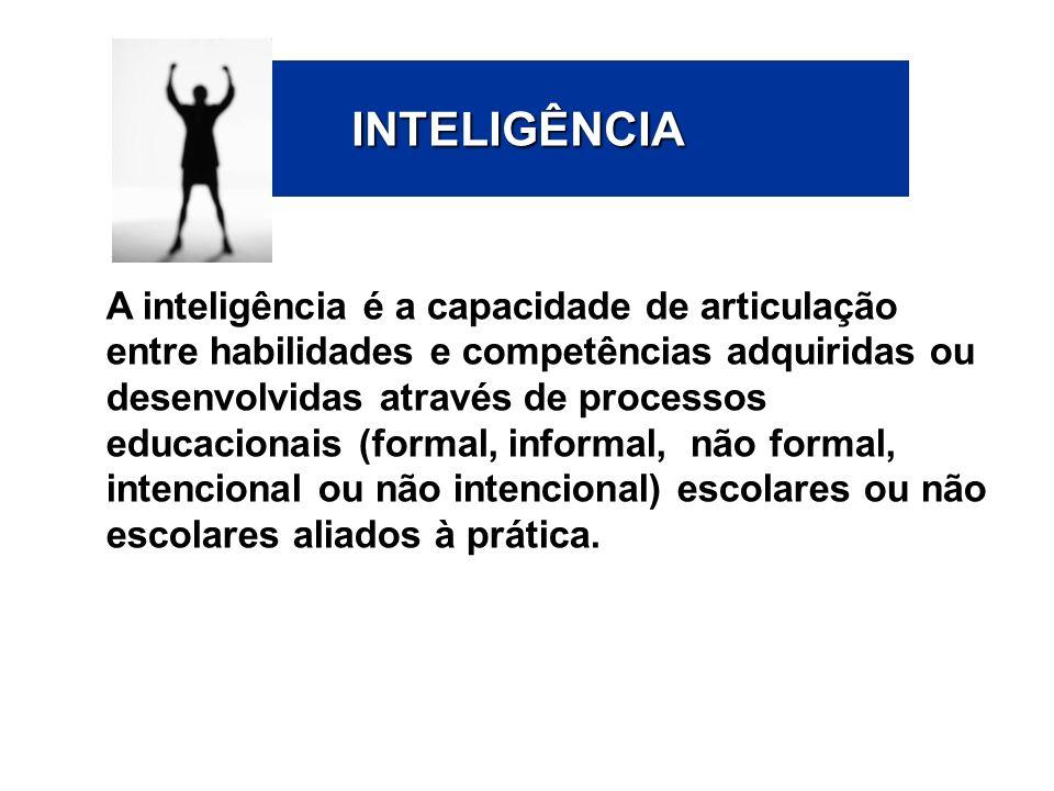 INTELIGÊNCIA A inteligência é a capacidade de articulação entre habilidades e competências adquiridas ou desenvolvidas através de processos educaciona