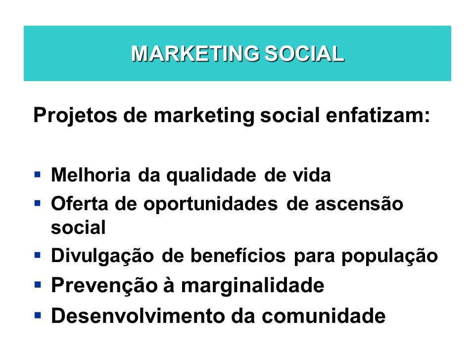 MARKETING SOCIAL Projetos de marketing social enfatizam: Melhoria da qualidade de vida Oferta de oportunidades de ascensão social Divulgação de benefí