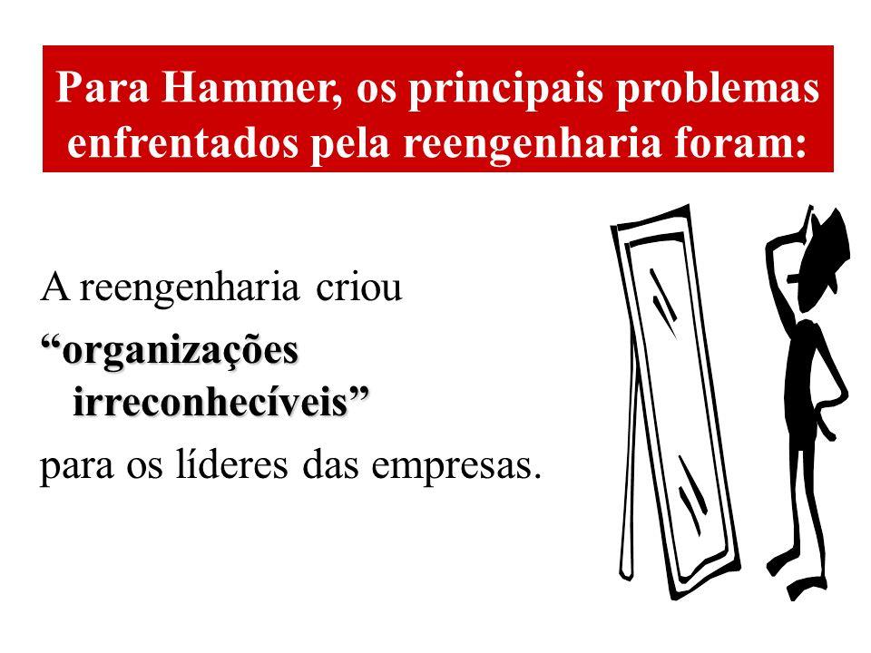 Para Hammer, os principais problemas enfrentados pela reengenharia foram: A reengenharia criou organizações irreconhecíveis para os líderes das empresas.