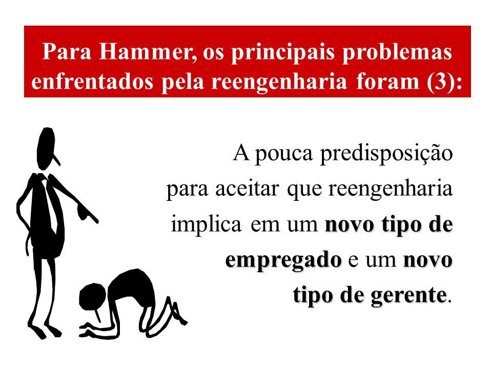 Para Hammer, os principais problemas enfrentados pela reengenharia foram (3): A pouca predisposição para aceitar que reengenharia novo tipo de implica em um novo tipo de empregadonovo empregado e um novo tipo de gerente tipo de gerente.