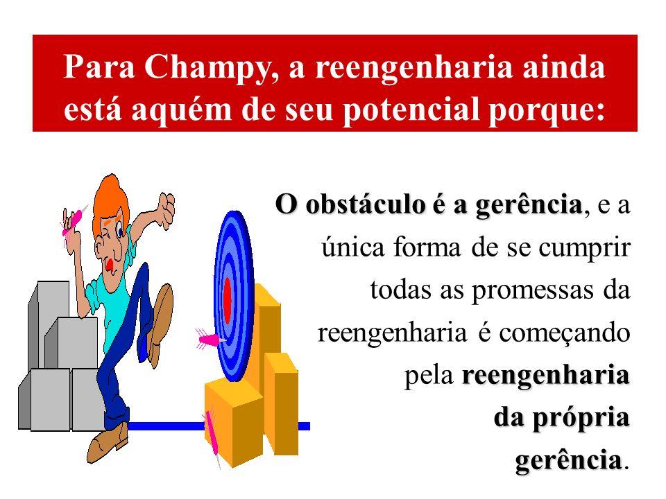 Para Champy, a reengenharia ainda está aquém de seu potencial porque: O obstáculo é a gerência O obstáculo é a gerência, e a única forma de se cumprir todas as promessas da reengenharia é começando reengenharia pela reengenharia da própria gerência gerência.