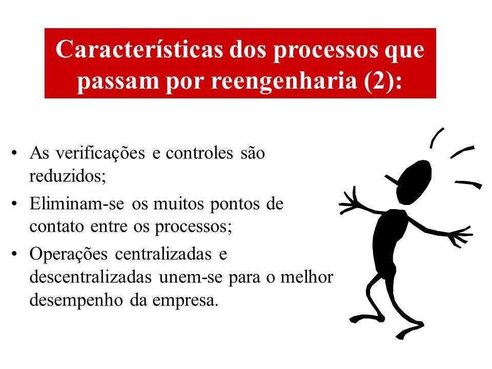 Características dos processos que passam por reengenharia (2): As verificações e controles são reduzidos; Eliminam-se os muitos pontos de contato entre os processos; Operações centralizadas e descentralizadas unem-se para o melhor desempenho da empresa.