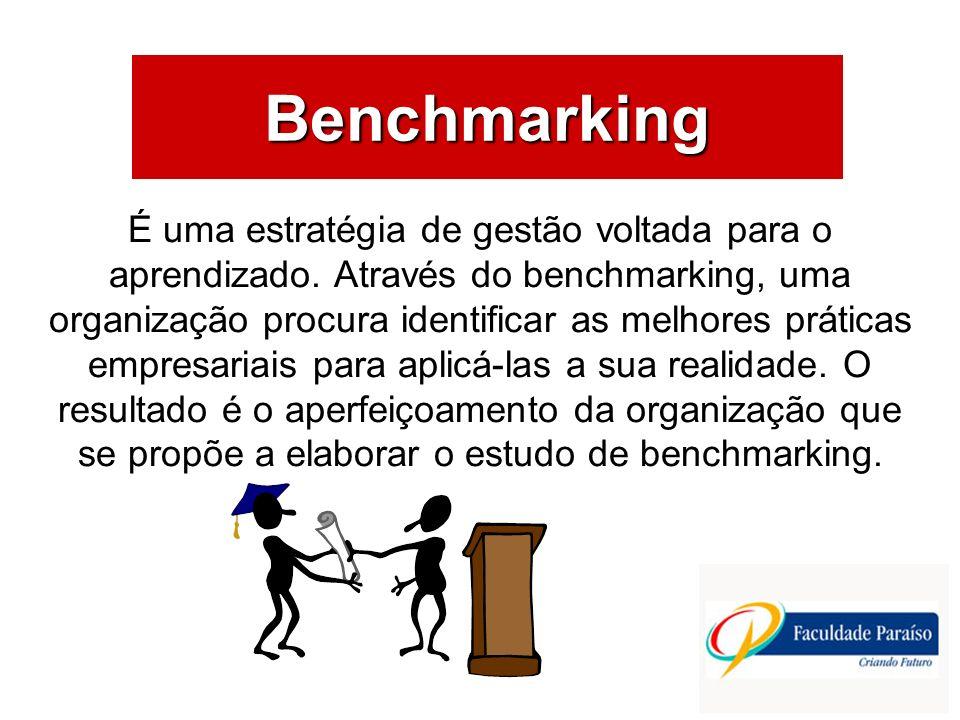 ÁREAS DE ATUAÇÃO Benchmarking É uma estratégia de gestão voltada para o aprendizado. Através do benchmarking, uma organização procura identificar as m