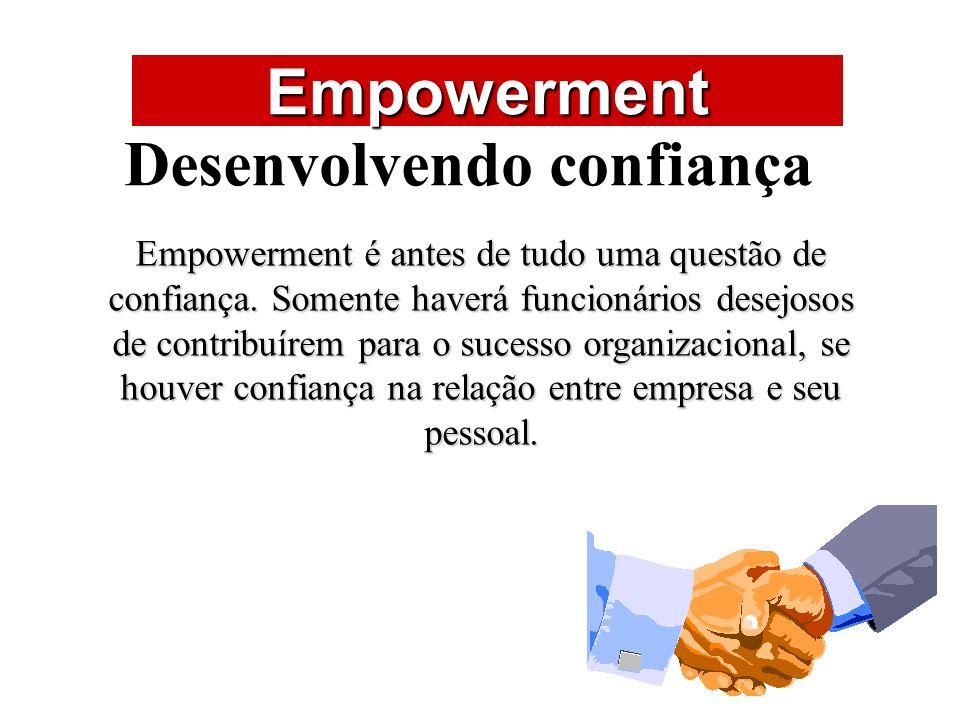 ÁREAS DE ATUAÇÃO Empowerment Desenvolvendo confiança Empowerment é antes de tudo uma questão de confiança. Somente haverá funcionários desejosos de co