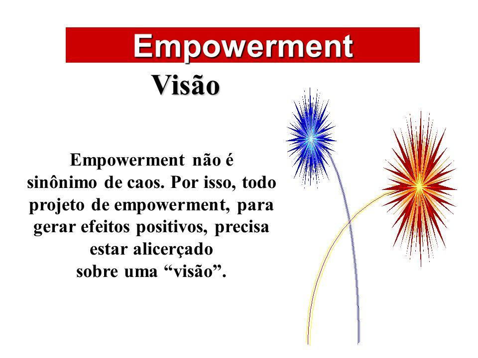 ÁREAS DE ATUAÇÃO Empowerment Visão Empowerment não é sinônimo de caos. Por isso, todo projeto de empowerment, para gerar efeitos positivos, precisa es