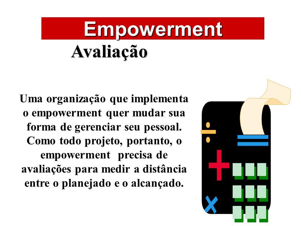 ÁREAS DE ATUAÇÃO Empowerment Avaliação Uma organização que implementa o empowerment quer mudar sua forma de gerenciar seu pessoal. Como todo projeto,