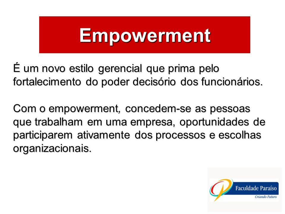 ÁREAS DE ATUAÇÃO Empowerment É um novo estilo gerencial que prima pelo fortalecimento do poder decisório dos funcionários. Com o empowerment, concedem