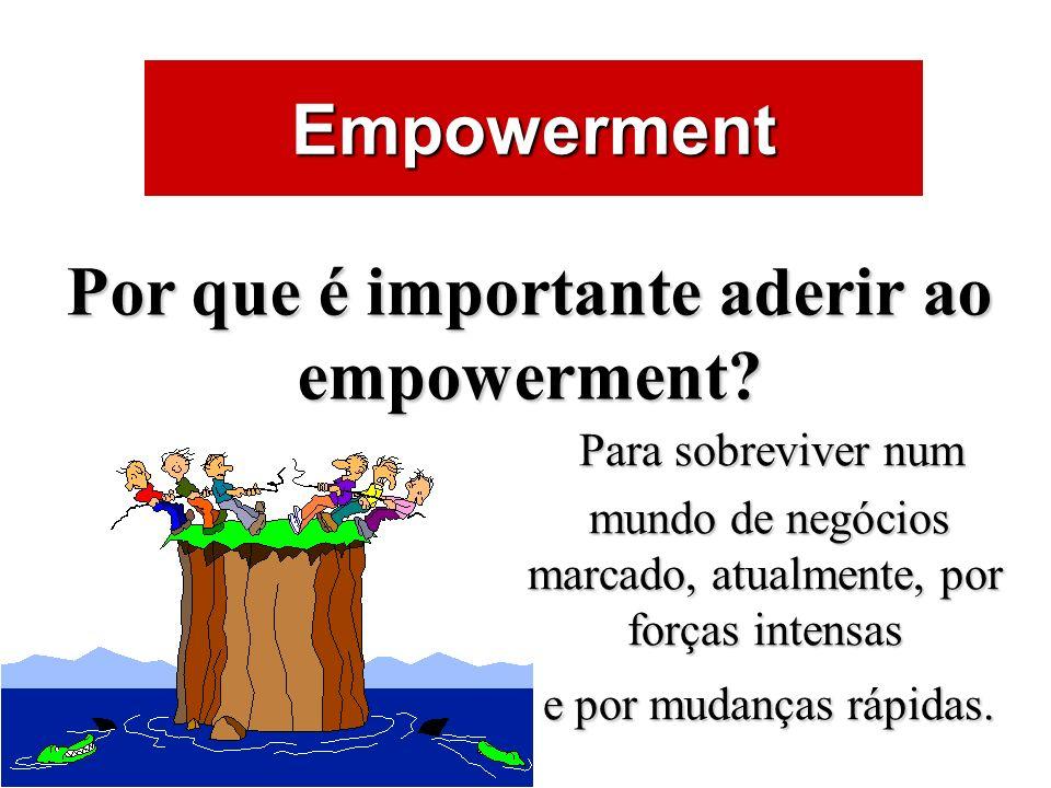 ÁREAS DE ATUAÇÃO Empowerment Por que é importante aderir ao empowerment? Para sobreviver num mundo de negócios marcado, atualmente, por forças intensa