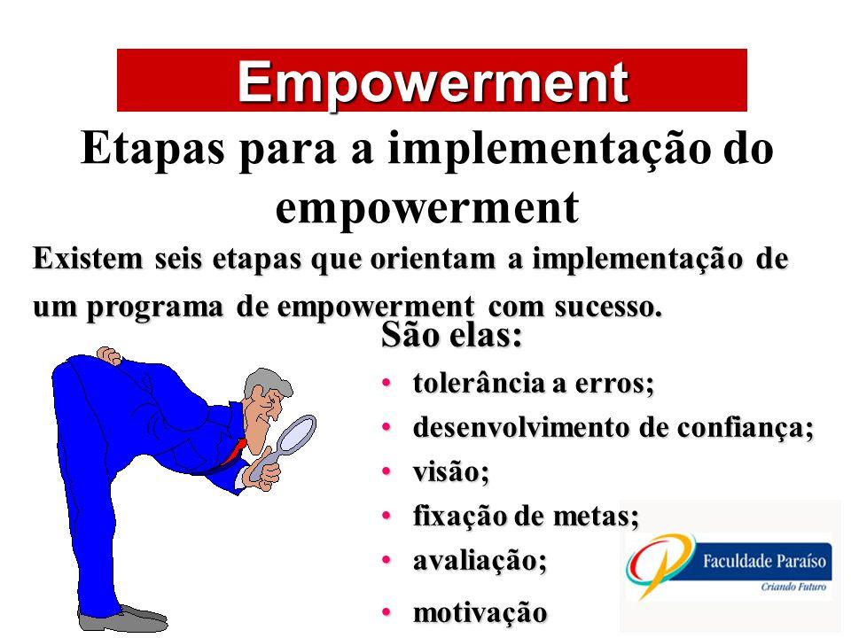 ÁREAS DE ATUAÇÃO Empowerment Etapas para a implementação do empowerment Existem seis etapas que orientam a implementação de um programa de empowerment