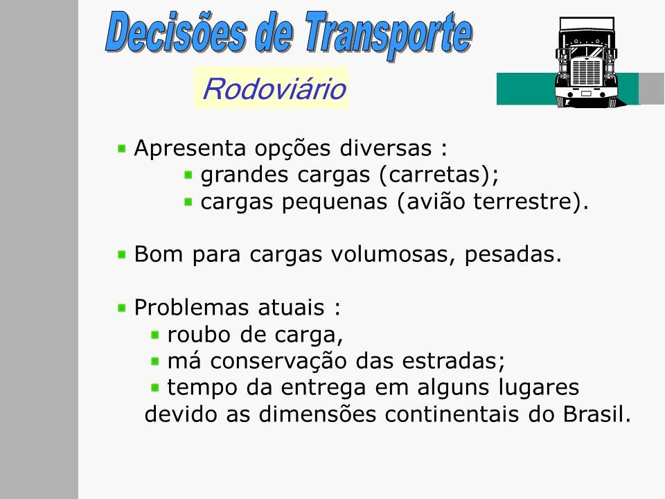 Rodoviário Apresenta opções diversas : grandes cargas (carretas); cargas pequenas (avião terrestre). Bom para cargas volumosas, pesadas. Problemas atu