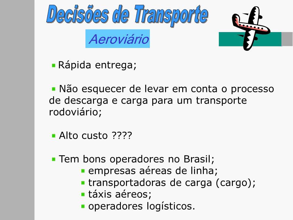 Aeroviário Rápida entrega; Não esquecer de levar em conta o processo de descarga e carga para um transporte rodoviário; Alto custo ???? Tem bons opera