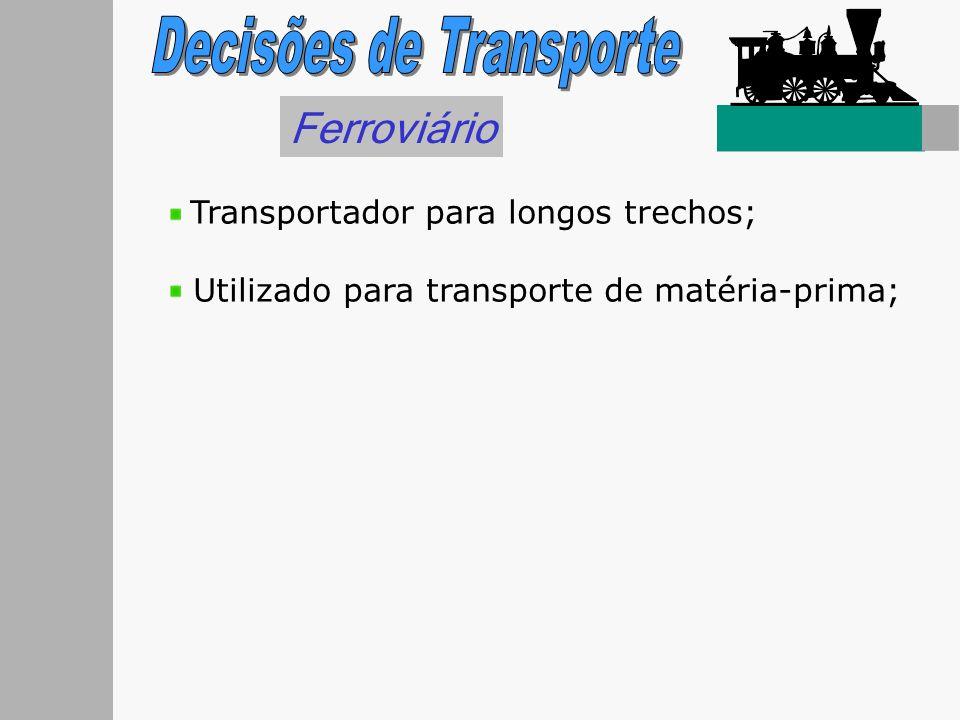 Ferroviário Transportador para longos trechos; Utilizado para transporte de matéria-prima;