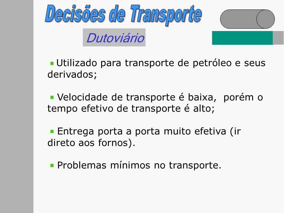 Dutoviário Utilizado para transporte de petróleo e seus derivados; Velocidade de transporte é baixa, porém o tempo efetivo de transporte é alto; Entre