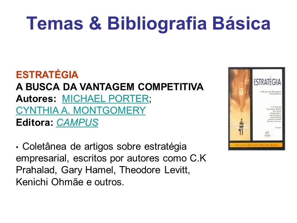 Temas & Bibliografia Básica ESTRATÉGIA A BUSCA DA VANTAGEM COMPETITIVA Autores: MICHAEL PORTER; CYNTHIA A. MONTGOMERY Editora: CAMPUSMICHAEL PORTER CY