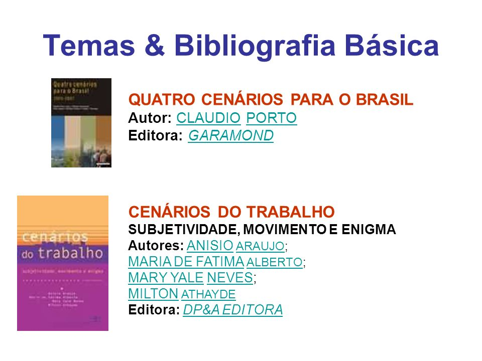 Temas & Bibliografia Básica QUATRO CENÁRIOS PARA O BRASIL Autor: CLAUDIO PORTO Editora: GARAMONDCLAUDIOPORTOGARAMOND CENÁRIOS DO TRABALHO SUBJETIVIDAD