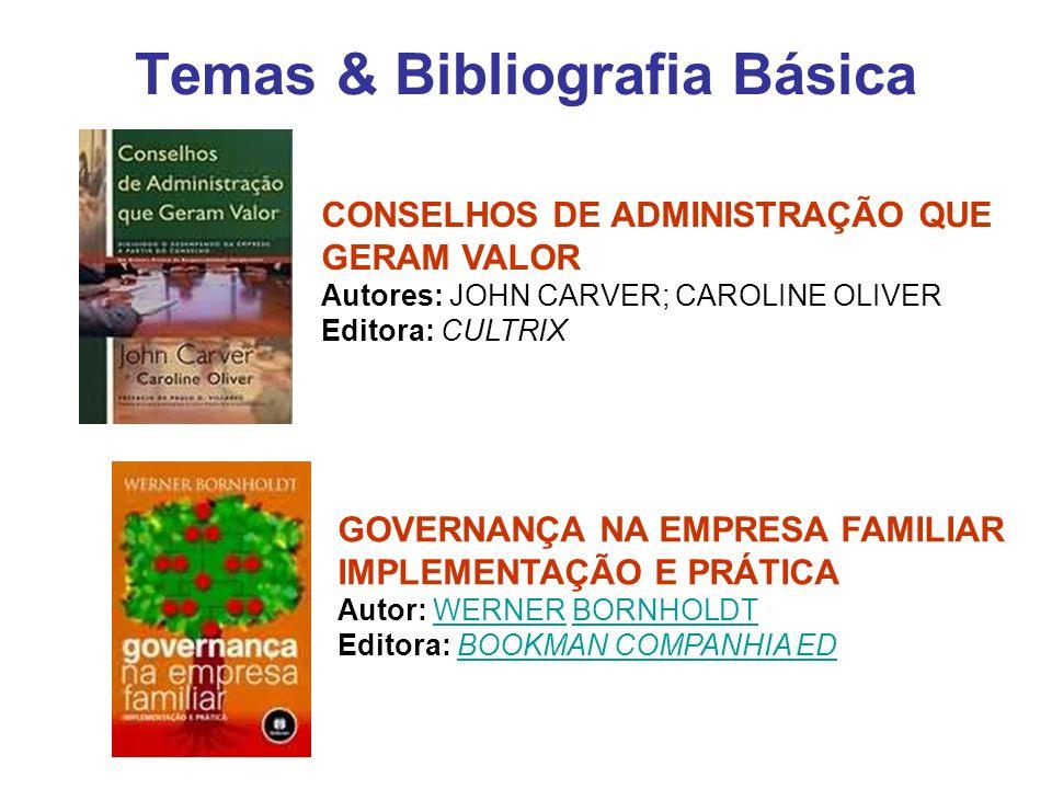Temas & Bibliografia Básica CONSELHOS DE ADMINISTRAÇÃO QUE GERAM VALOR Autores: JOHN CARVER; CAROLINE OLIVER Editora: CULTRIX GOVERNANÇA NA EMPRESA FA