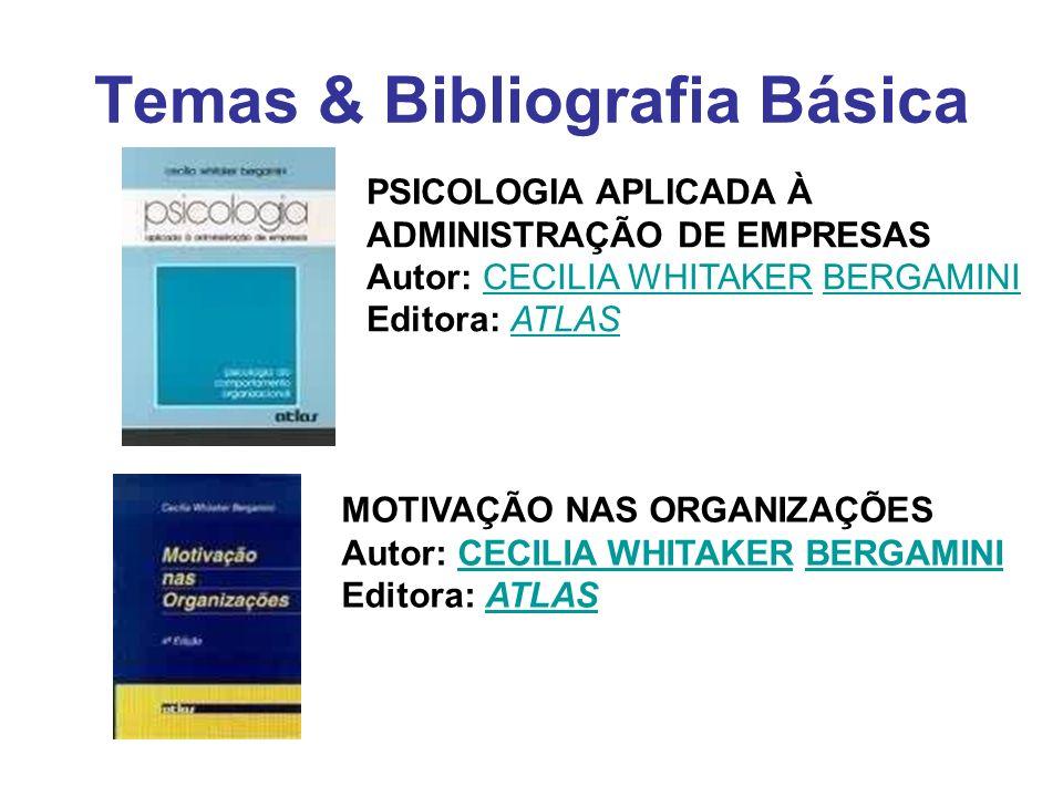 Temas & Bibliografia Básica MOTIVAÇÃO NAS ORGANIZAÇÕES Autor: CECILIA WHITAKER BERGAMINI Editora: ATLASCECILIA WHITAKERBERGAMINIATLAS PSICOLOGIA APLIC