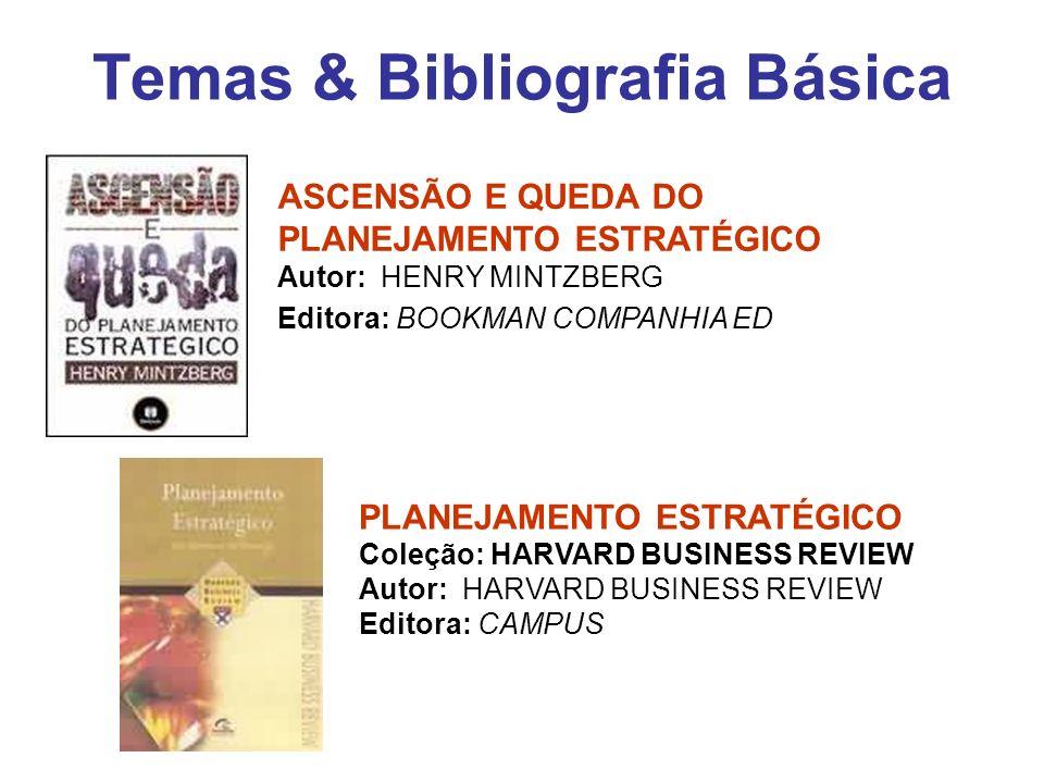Temas & Bibliografia Básica ASCENSÃO E QUEDA DO PLANEJAMENTO ESTRATÉGICO Autor: HENRY MINTZBERG Editora: BOOKMAN COMPANHIA ED PLANEJAMENTO ESTRATÉGICO
