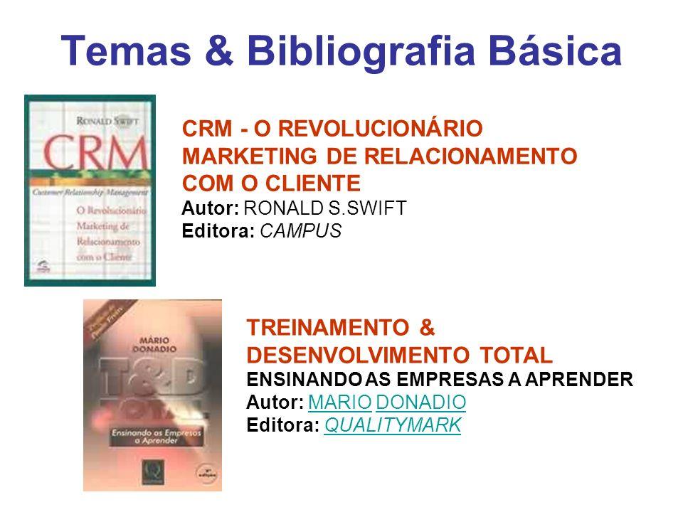 Temas & Bibliografia Básica CRM - O REVOLUCIONÁRIO MARKETING DE RELACIONAMENTO COM O CLIENTE Autor: RONALD S.SWIFT Editora: CAMPUS TREINAMENTO & DESEN