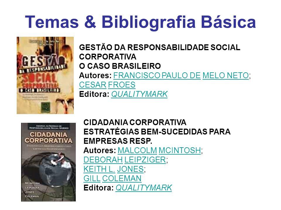 Temas & Bibliografia Básica GESTÃO DA RESPONSABILIDADE SOCIAL CORPORATIVA O CASO BRASILEIRO Autores: FRANCISCO PAULO DE MELO NETO; CESAR FROES Editora