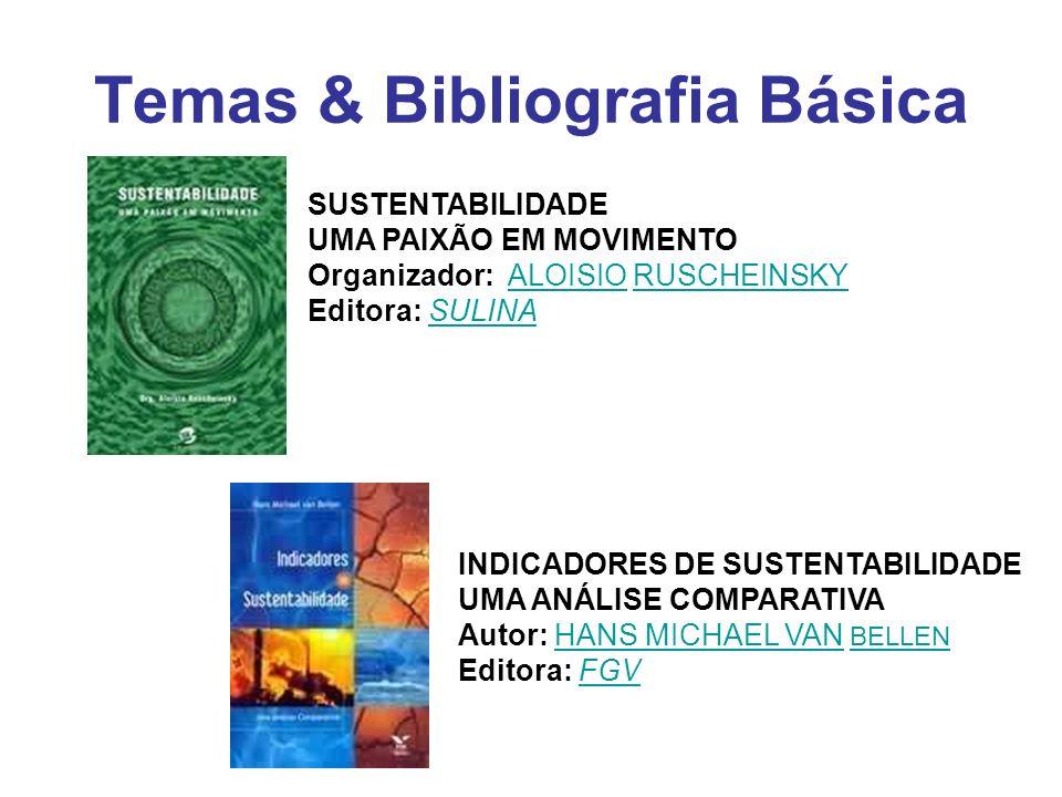 Temas & Bibliografia Básica SUSTENTABILIDADE UMA PAIXÃO EM MOVIMENTO Organizador: ALOISIO RUSCHEINSKY Editora: SULINAALOISIORUSCHEINSKYSULINA INDICADO