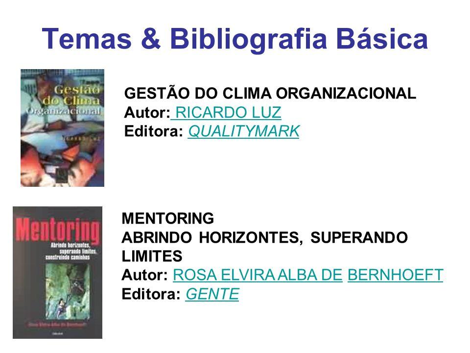 Temas & Bibliografia Básica GESTÃO DO CLIMA ORGANIZACIONAL Autor: RICARDO LUZ Editora: QUALITYMARK RICARDO LUZQUALITYMARK MENTORING ABRINDO HORIZONTES