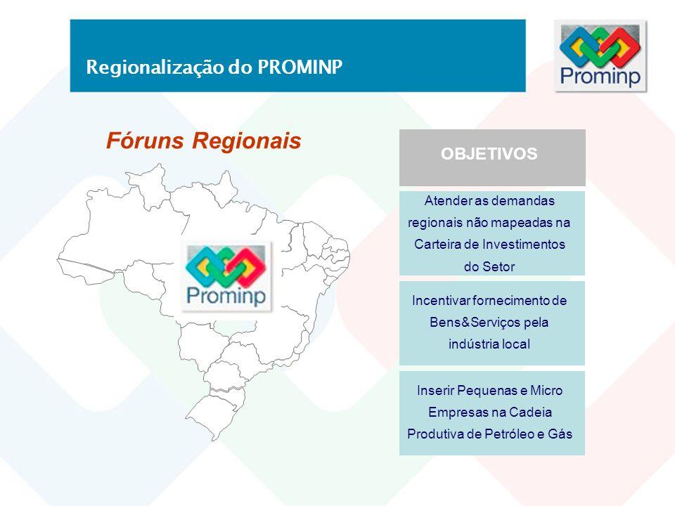 Fóruns Regionais Regionalização do PROMINP OBJETIVOS Atender as demandas regionais não mapeadas na Carteira de Investimentos do Setor Incentivar forne
