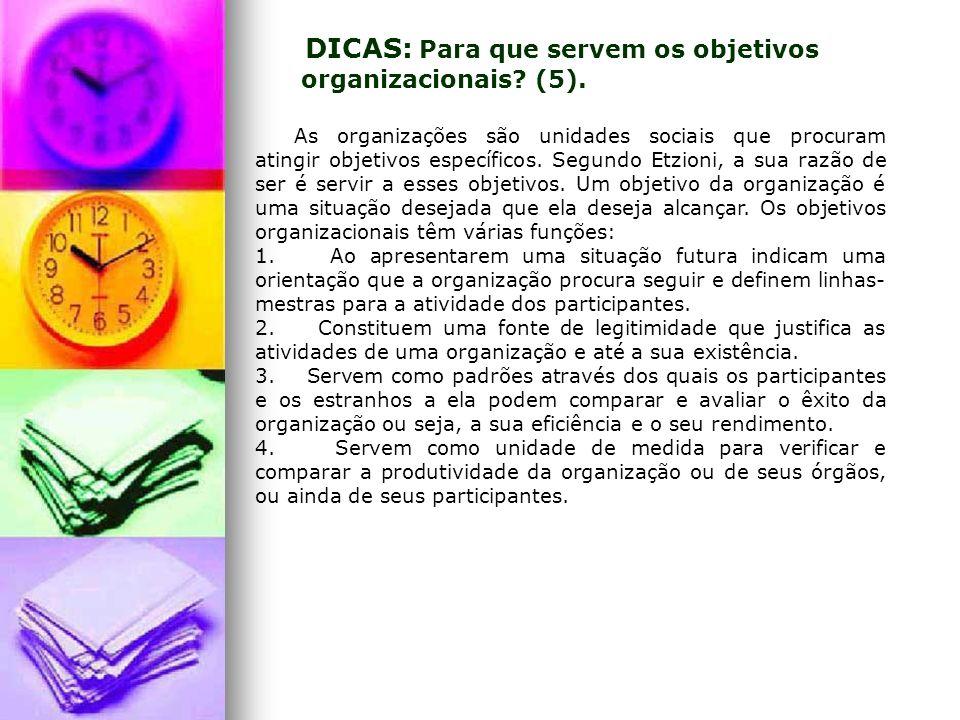 As organizações são unidades sociais que procuram atingir objetivos específicos. Segundo Etzioni, a sua razão de ser é servir a esses objetivos. Um ob