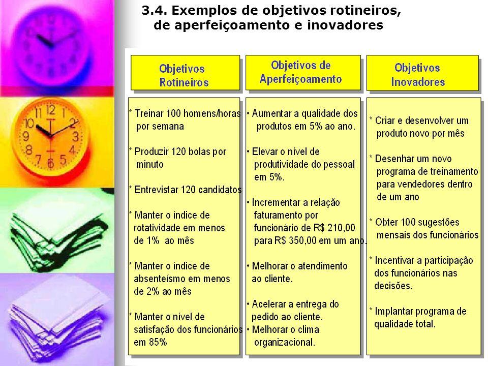 3.4. Exemplos de objetivos rotineiros, de aperfeiçoamento e inovadores