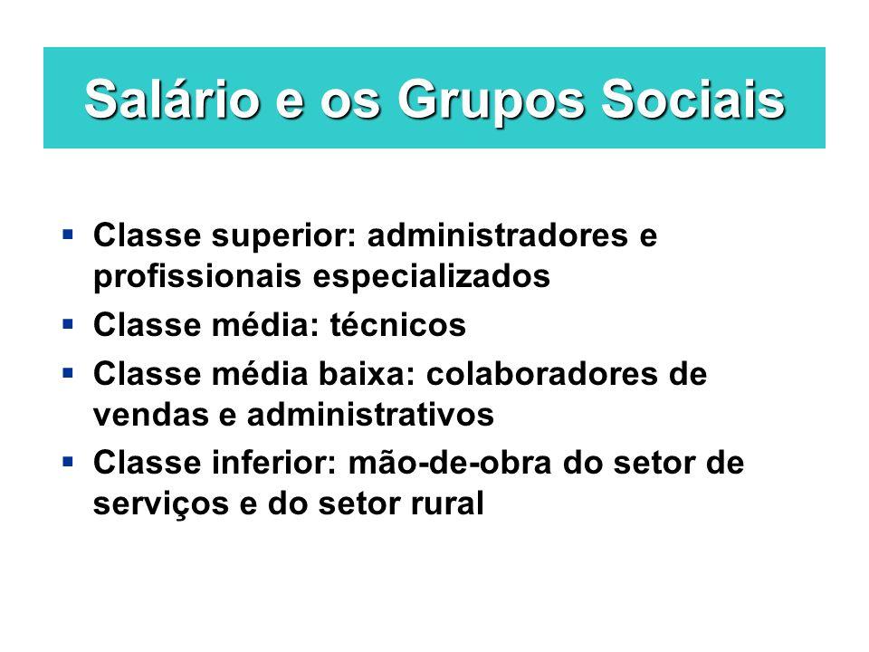 Salário e os Grupos Sociais Classe superior: administradores e profissionais especializados Classe média: técnicos Classe média baixa: colaboradores d