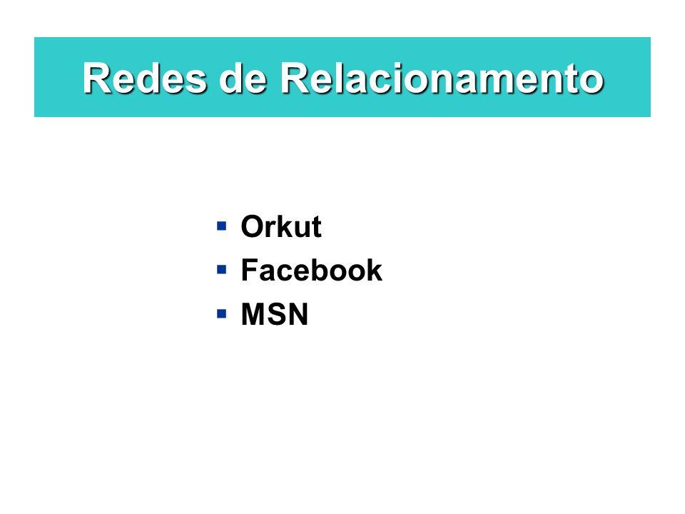 Redes de Relacionamento Orkut Facebook MSN