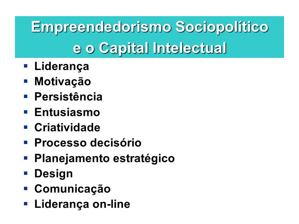 Empreendedorismo Sociopolítico e o Capital Intelectual Liderança Motivação Persistência Entusiasmo Criatividade Processo decisório Planejamento estrat