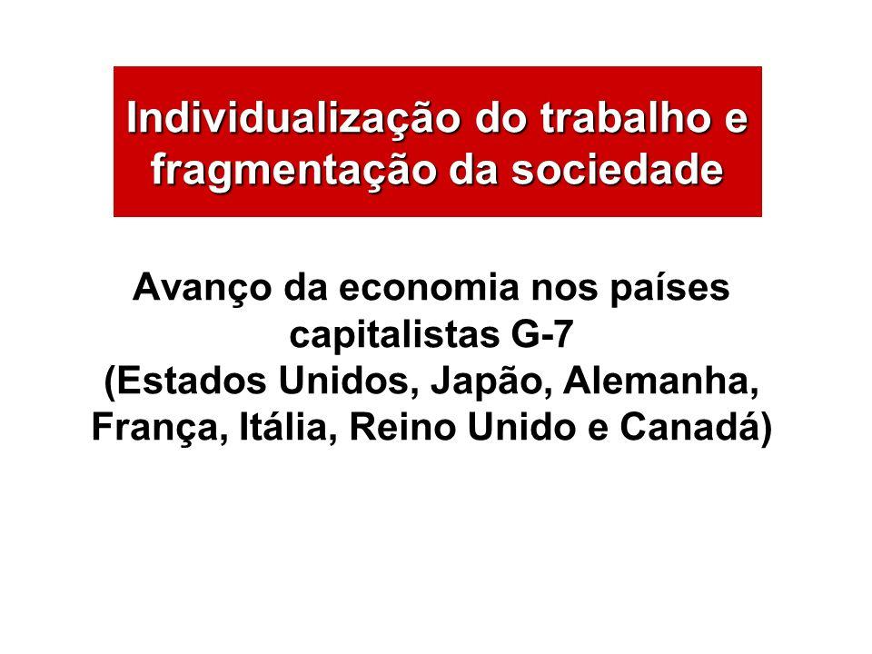 Avanço da economia nos países capitalistas G-7 (Estados Unidos, Japão, Alemanha, França, Itália, Reino Unido e Canadá) Individualização do trabalho e