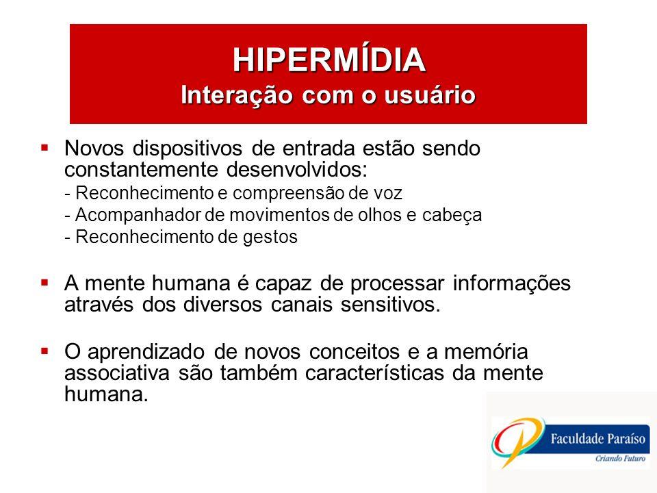 HIPERMÍDIA Interação com o usuário Hardwares e softwares, compatíveis com os processos de pensamento humano.