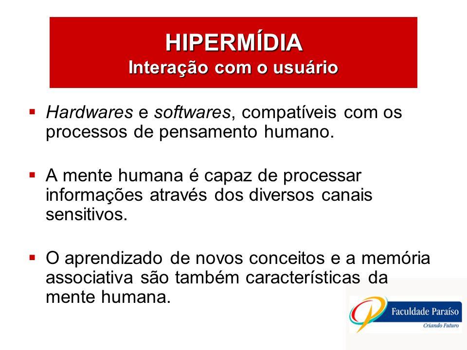 HIPERMÍDIA Interação com o usuário Hardwares e softwares, compatíveis com os processos de pensamento humano. A mente humana é capaz de processar infor