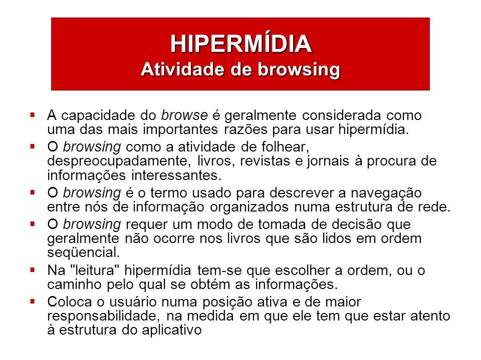 HIPERMÍDIA Atividade de browsing A capacidade do browse é geralmente considerada como uma das mais importantes razões para usar hipermídia. O browsing