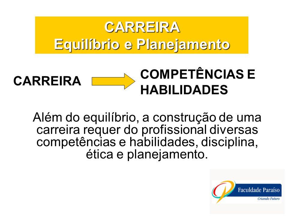CARREIRA Equilíbrio e Planejamento CARREIRA Além do equilíbrio, a construção de uma carreira requer do profissional diversas competências e habilidade