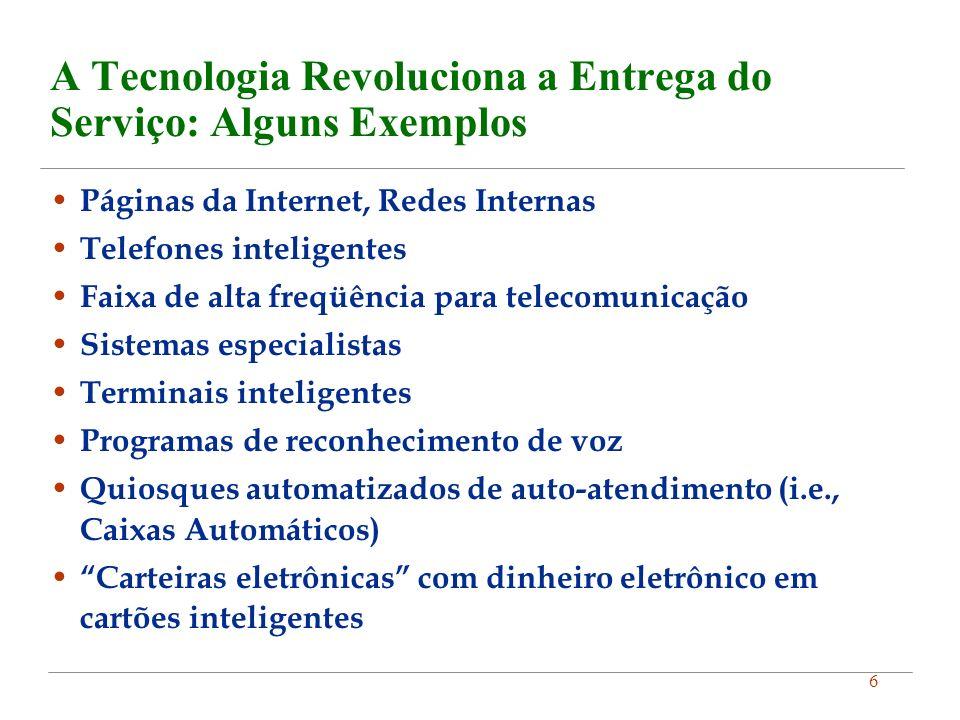 6 A Tecnologia Revoluciona a Entrega do Serviço: Alguns Exemplos Páginas da Internet, Redes Internas Telefones inteligentes Faixa de alta freqüência p
