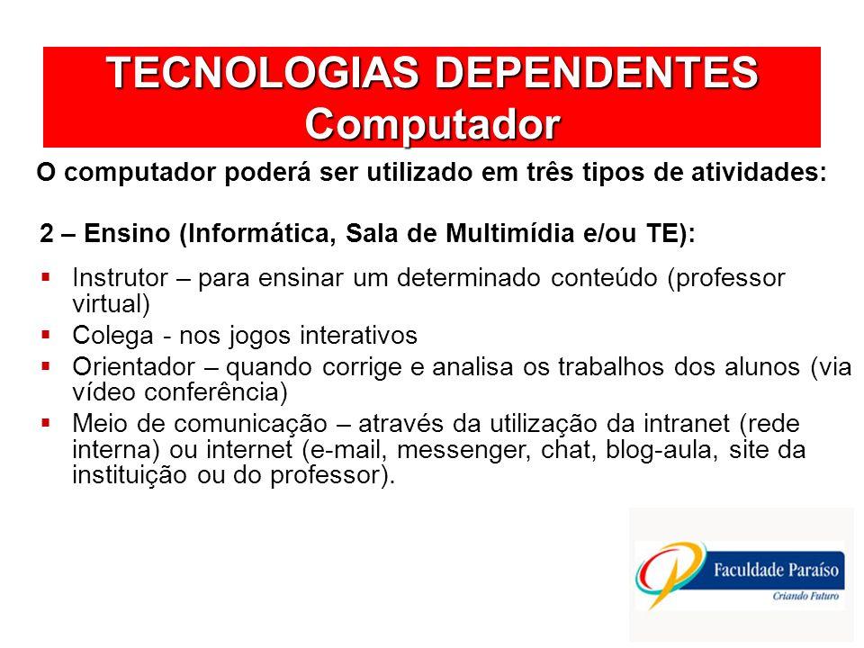 TECNOLOGIAS DEPENDENTES Computador O computador poderá ser utilizado em três tipos de atividades: Instrutor – para ensinar um determinado conteúdo (pr