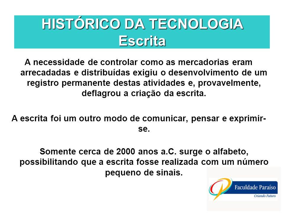 HISTÓRICO DA TECNOLOGIA Escrita A necessidade de controlar como as mercadorias eram arrecadadas e distribuídas exigiu o desenvolvimento de um registro