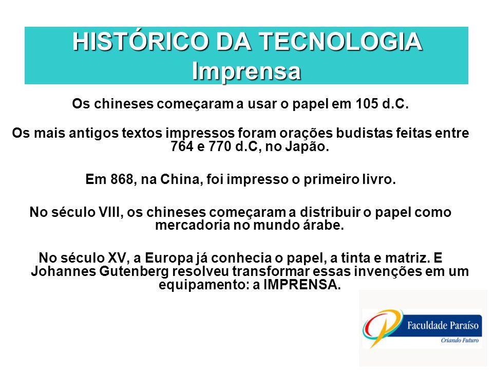 HISTÓRICO DA TECNOLOGIA Imprensa Os chineses começaram a usar o papel em 105 d.C. Os mais antigos textos impressos foram orações budistas feitas entre