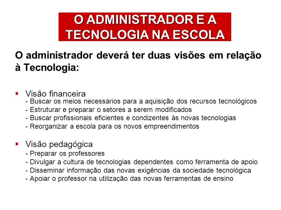 O ADMINISTRADOR E A TECNOLOGIA NA ESCOLA O administrador deverá ter duas visões em relação à Tecnologia: Visão financeira - Buscar os meios necessário
