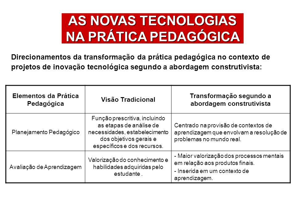 AS NOVAS TECNOLOGIAS NA PRÁTICA PEDAGÓGICA Direcionamentos da transformação da prática pedagógica no contexto de projetos de inovação tecnológica segu