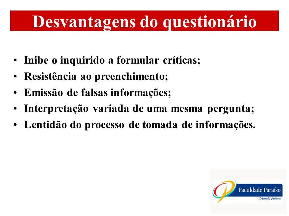 Desvantagens do questionário Inibe o inquirido a formular críticas; Resistência ao preenchimento; Emissão de falsas informações; Interpretação variada