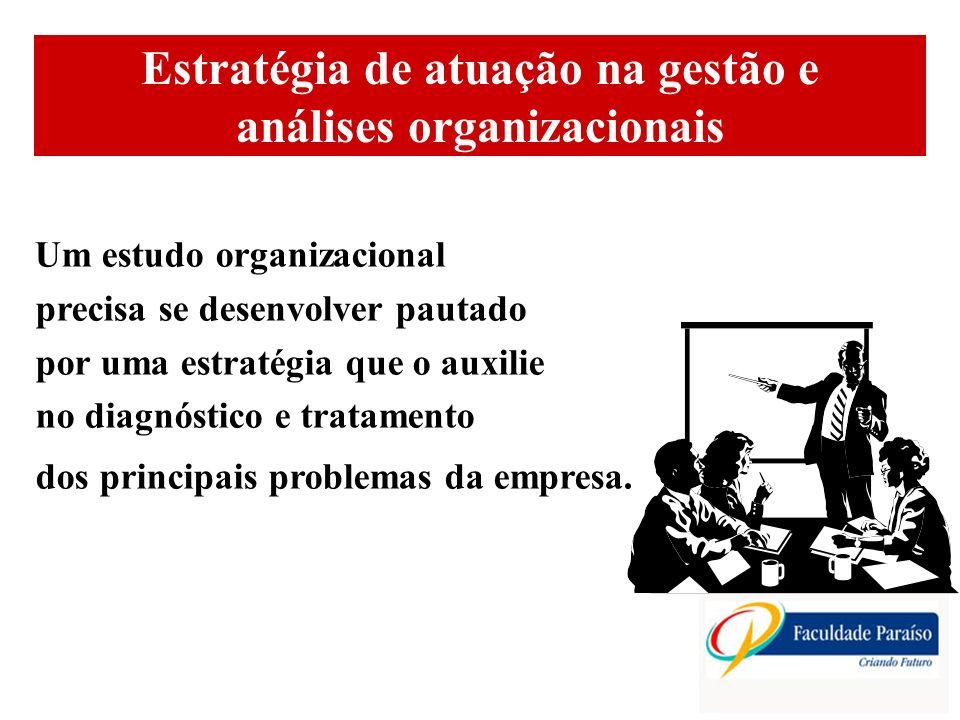ÁREAS DE ATUAÇÃO Estratégia de atuação na gestão e análises organizacionais (2) Uma boa estratégia possui os seguintes passos: a) definição do objeto de estudo; b) pesquisa preliminar; c) planejamento da ação; d) execução; e) identificação dos principais problemas e necessidades; f) formulação (e escolha) de alternativas de ação; g) mudança e acompanhamento; h) reavaliação.